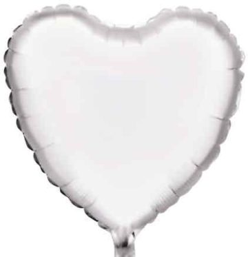 "18"" WHITE HEART FOIL BALLOON-0"