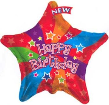 "18"" HAPPY BIRTHDAY COLOR STAR-0"