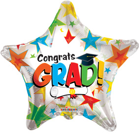 "18"" Congrats Grad Colorful Stars Clear View-0"