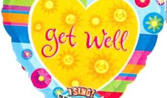 "28"" GET WELL STRIPES SINGING MYLAR-0"