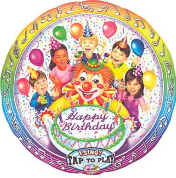 "28"" CLOWN & KIDS SINGING MYLAR-0"