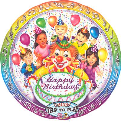 "28"" CLOWN & KIDS SINGING MYLAR-0"