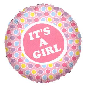 "18"" IT'S A GIRL PAINTED DOTS FOIL-0"