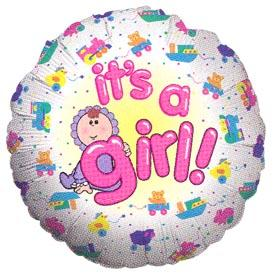 "18"" IT'S A GIRL BABY GIRL FOIL BALOON-0"