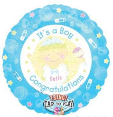 "28"" IT'S A BOY CONGRATS SINGING MYLAR-0"