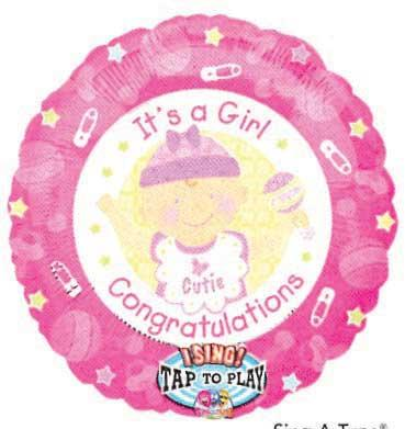 "28"" IT'S A GIRL CONGRAT SINGING MYLAR-0"