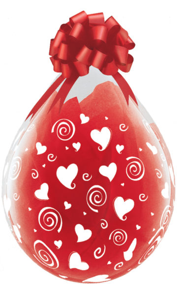 "18"" Swirling Hearts a Round Stuffing Balloon-0"