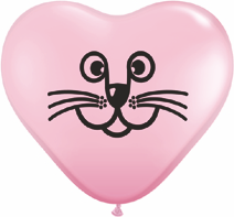 "6"" Cat Face Pink Heart Latex-0"